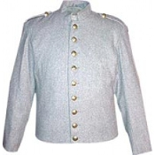 Gray Wool Fully-Lined ( 9 CSA Buttons ) on Front , Stand-up Coll