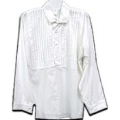White muslin Shirt with pleated front bib.