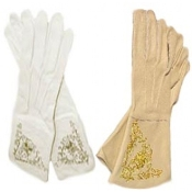 Goat Leather Gauntlets with Hand Embroidery , Available in White