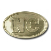 North Carolina State Oval Brass Buckle